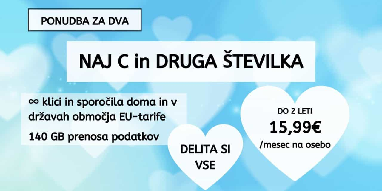 Mobilni paket Naj C za dva, že od 15,99 EUR na osebo