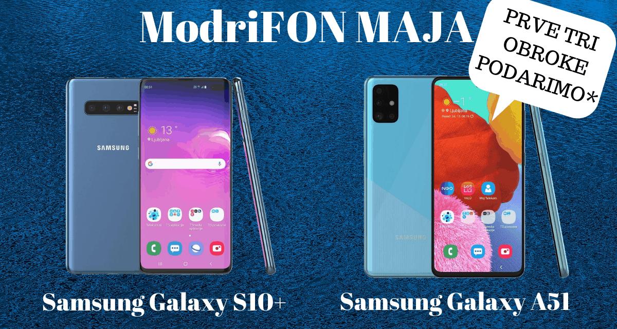 Modri fon maja Samsung Galaxy S10+ in Galaxy A51