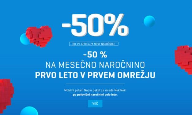 -50 % NA MESEČNO NAROČNINO (Vsi mobilni paketi Naj in paket za mlade NekiNeki po polovični naročnini celo leto)