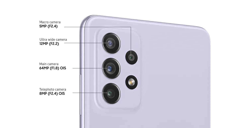A72 fotoaparat, 64 MP glavna kamera, 3-kratna optična povezava, OIS, 12 MP ultra širokokotna kamera, 5MP makro kamera