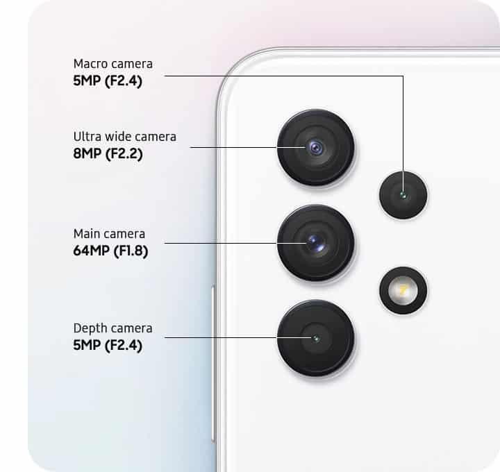 Sistem kamere z več objektivi na Galaxy A32 pametnem telefonu s 64 MP glavno kamero