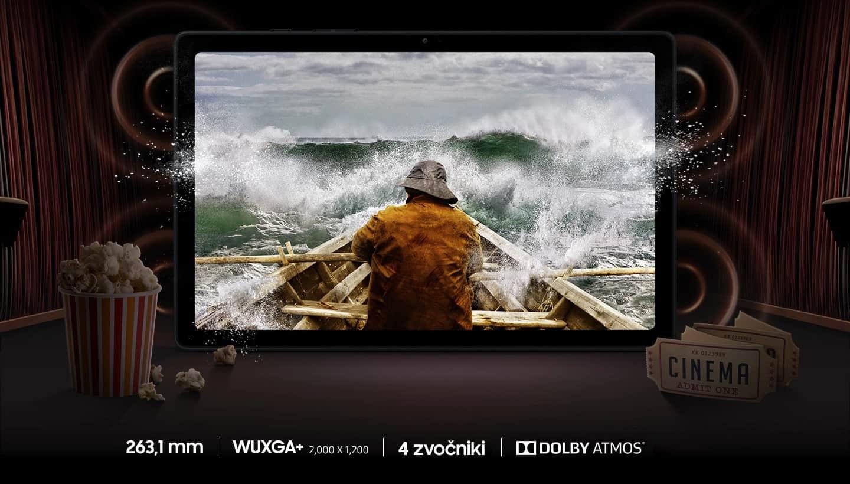 Galaxy Tab A7 tablični računalnik z odličnim zaslonom in čudovito bogatim zvokom.