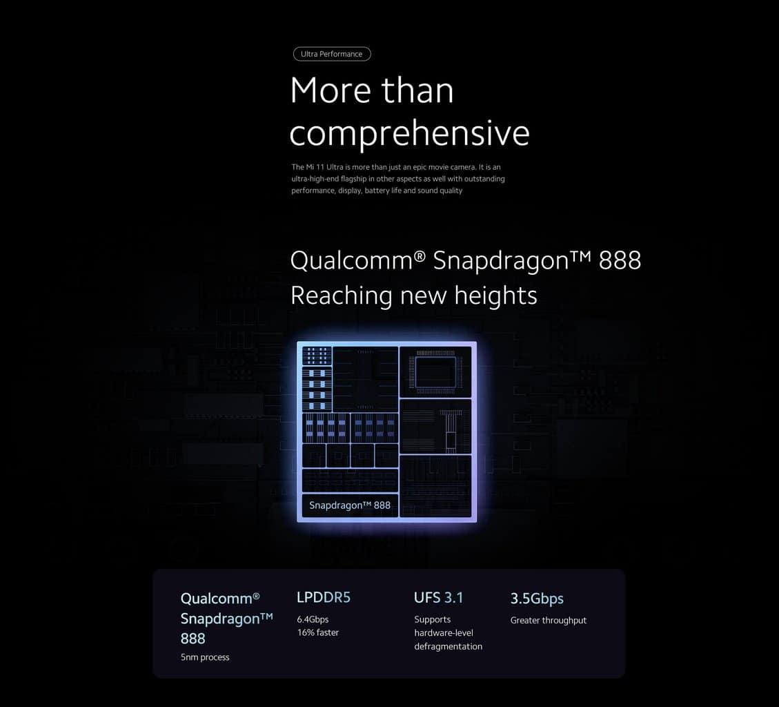 Xiaomi Mi 11 Ultra Qualcomm Snapdragon 888