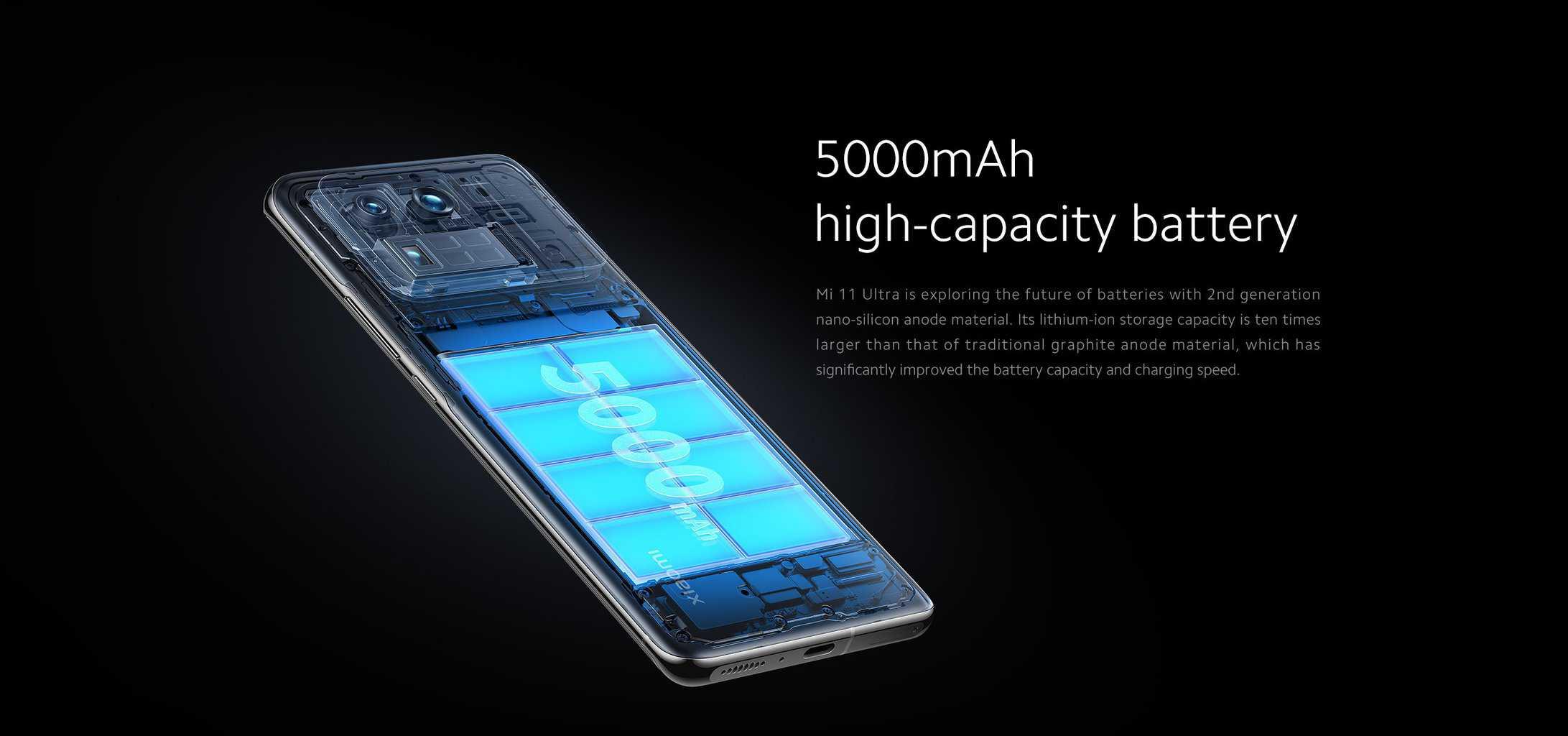 Xiaomi Mi 11 UXiaomi Mi 11 Ultra s 5,000mAh baterijo