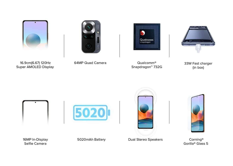 Redmi Note 10 Pro baterija 5020 zmogljivost.